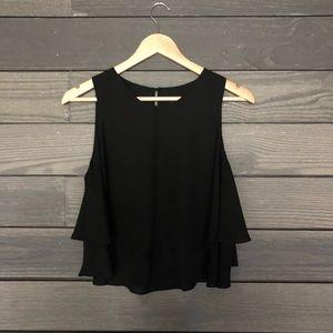 Zara Basic black tank layered hem sleeveless top M